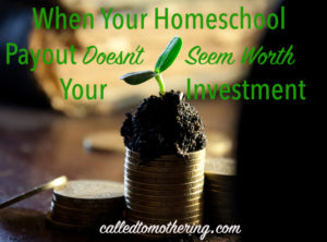 When Your Homeschool Payout Doesn't Seem Worth Your Investment