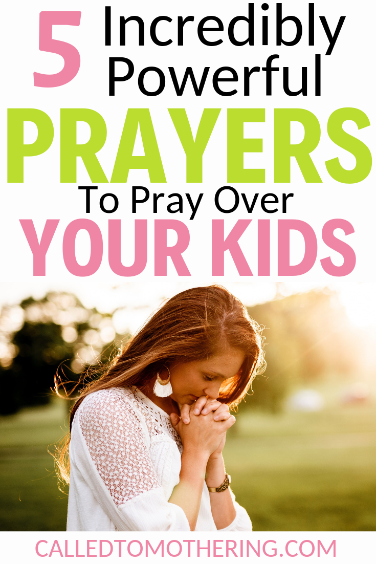 Wondering what to pray for your kids? Here are 5 specific prayers that will powerfully impact their daily lives. #prayersformykids #raisinggodlykids #christianparenting