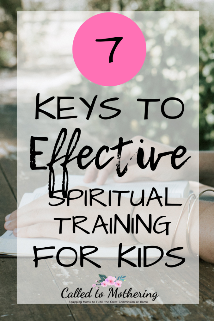 These 7 keys help break down the task of spiritually training your kids into manageable pieces. #christianparenting #intentionalparenting #discipleship #parentingadvice #christianeducation
