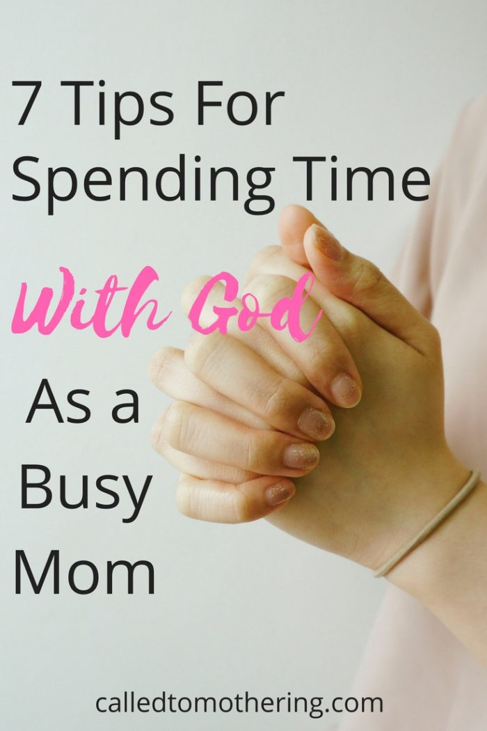 As moms we know our days can start with a bang before we even climb out of bed, and it's easy to forget to spend quality time with the Lord. Here are seven practical ways for the busy mom to carve out time each day with God! #motherhoodencouragement #christianmotherhood