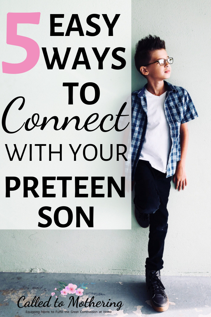 5 easy ways to connect with your maturing preteen boy and navigate your changing relationship as he becomes a godly young man. #tweenparenting #raisingsons #christianparenting