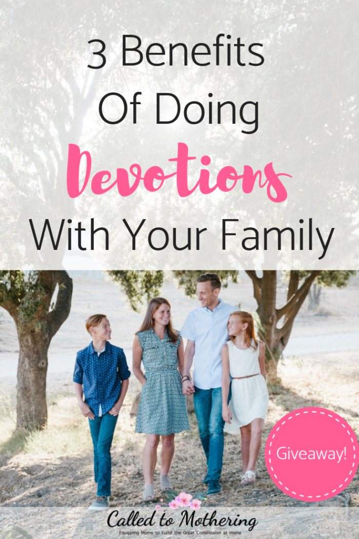 Benefits of doing devotions with your family, plus a giveaway of a set of 3 family devotions! #giveaway #familydevotion #familydiscipleship #buildingfaith