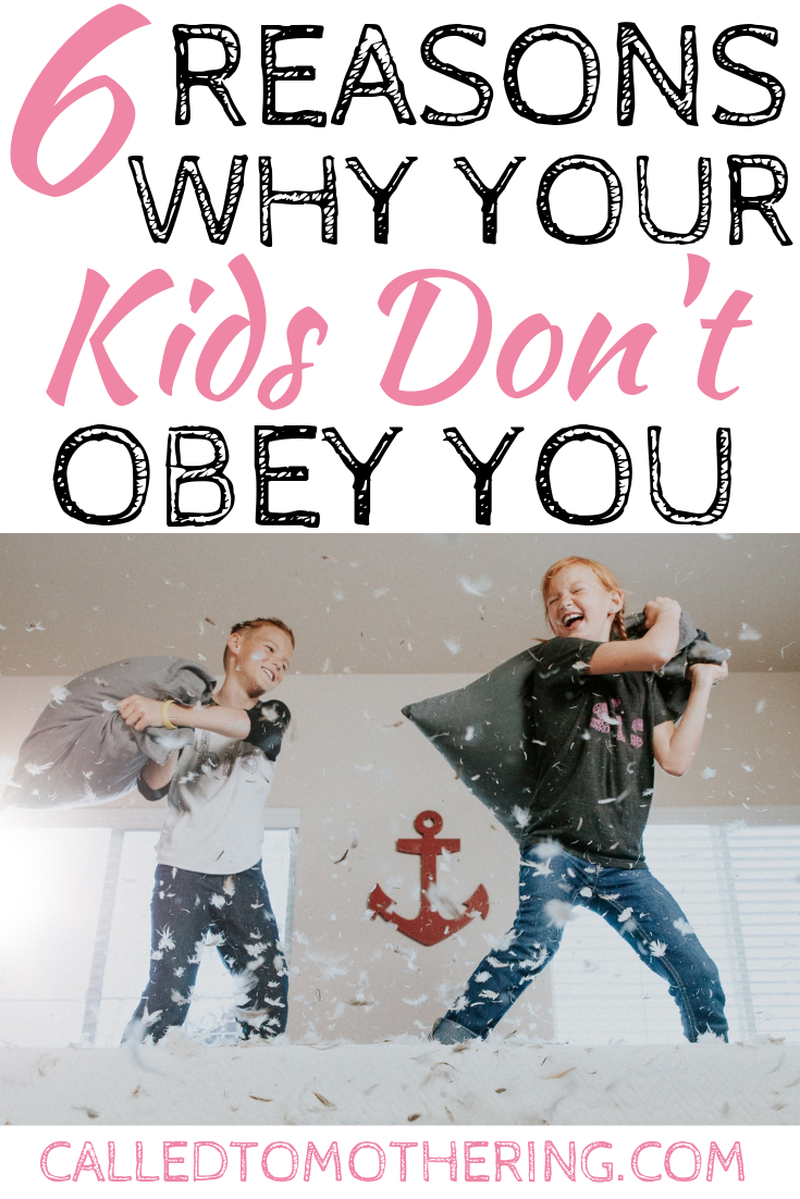 Are you frustrated because your children aren't obeying? Here are 6 things you might be doing to add to the frustration, plus the solution for actually getting them to obey! #disciplineforkids #parentinghacks #obediencetips #reasonskidsdontobey #intentionalparenting
