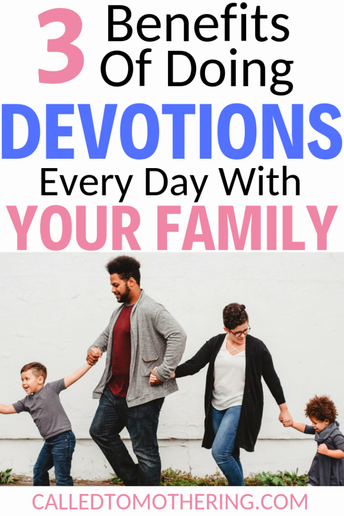 Gathering everyone together for devotions in your busy day can be difficult but it reaps so many benefits, including a stronger family. #familydevotions #familydiscipleship #christianparenting