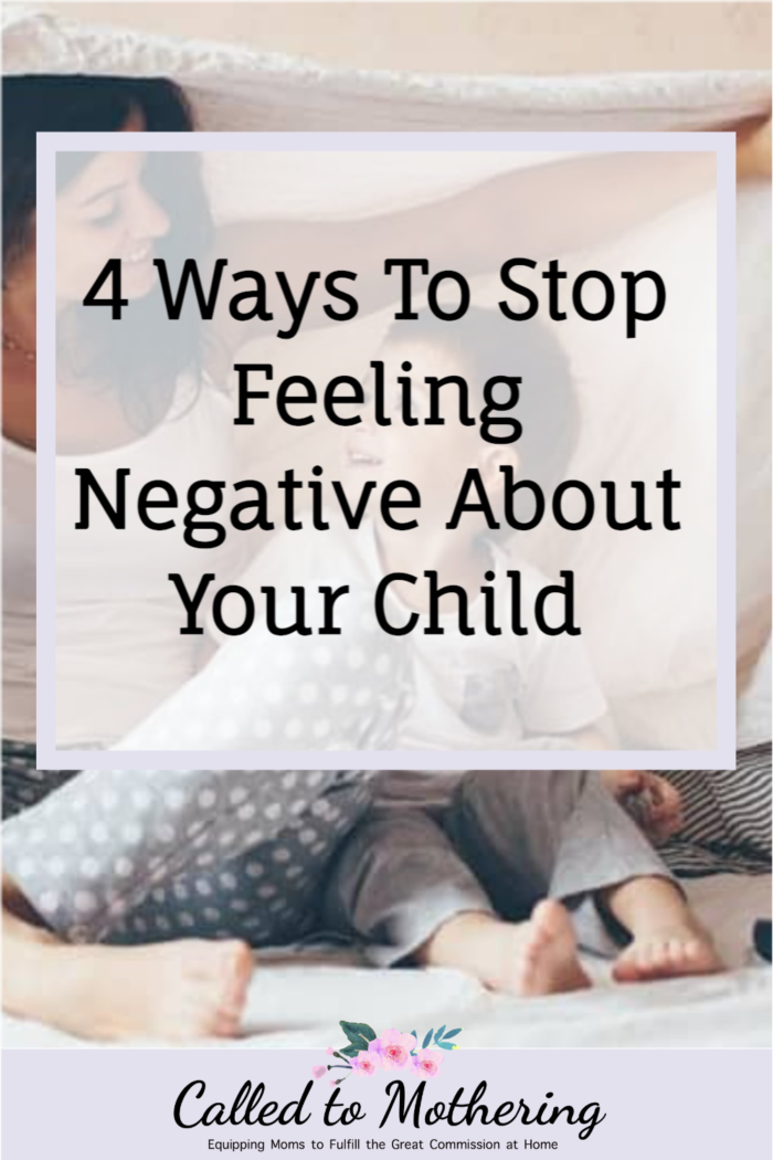 Four strategies to overcome the negative feelings you have about your child, including a chart of positive words to replace negative labels with! #positiveparenting #positivediscipline